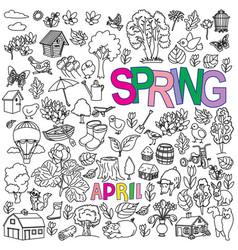 Spring doodles set vector