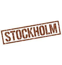 Stockholm brown square stamp vector
