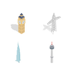 Tower icon set isometric style vector