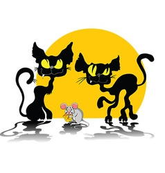 Two cats and mouse vector