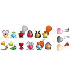 wildlife hearts vector image vector image