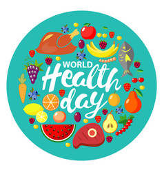 World health day concept round banner vector