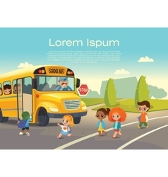 School bus traffic stop back-to-school safety vector