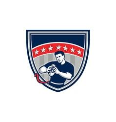 Flag Football QB Player Running Stars Crest Retro vector image