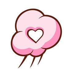 Heart shaped cloud colorful cartoon vector
