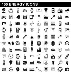 100 energy icons set simple style vector
