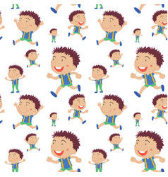 seamless background with boys runnign vector image