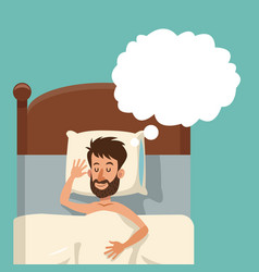 Cartoon bearded man sleeping dream shirtless bed vector
