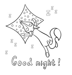 Cute cartoon sleeping fox with pillow vector