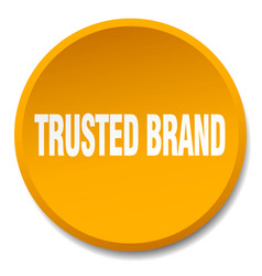 Trusted brand orange round flat isolated push vector