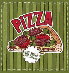 food poster with pizza vector image