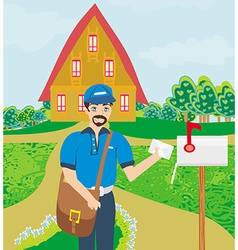 Happy postman vector