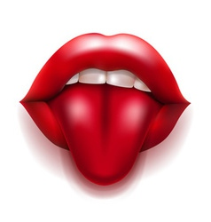 Mouth with red lips and tongue vector