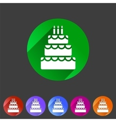 Birthday cake flat icon sign symbol logo label set vector