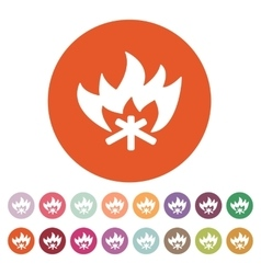The fire icon bonfire symbol flat vector