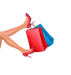 Woman in red high heels holding red shopping bags vector