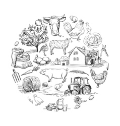 Round card with farm related items vector
