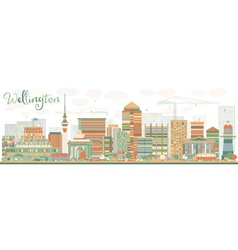 Abstract wellington skyline with color buildings vector