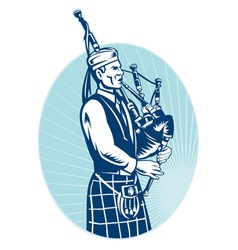 Bagpiper playing scottish bagpipes vector