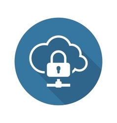 Cloud data protection icon flat design vector