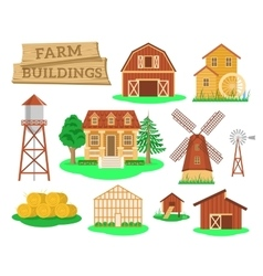 Farm buildings and constructions flat infographic vector
