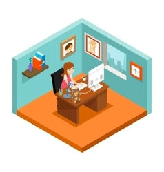 Freelancer at work isometric 3d freelance woman vector