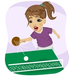 Action shot of teenager girl playing table tennis vector