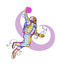 Astronaut dunking ball doodle vector