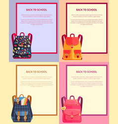 Back to school banner with text backpacks set vector