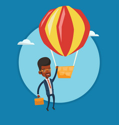 Businessman hanging on balloon vector