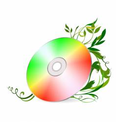 cd-disk on floral background vector image