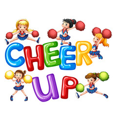 Cheerleaders and word cheer up vector