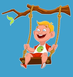 child on a swing vector image