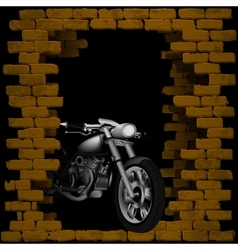 chopper motorbike in breaking the brick wall vector image