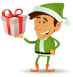 christmas elf holding gift vector image vector image