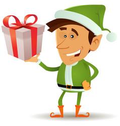 Christmas elf holding gift vector