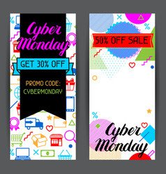 Cyber monday sale banners online shopping and vector