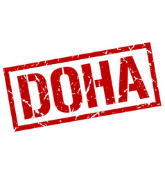 Doha red square stamp vector
