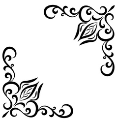Doodle abstract handdrawn flower corner frame vector