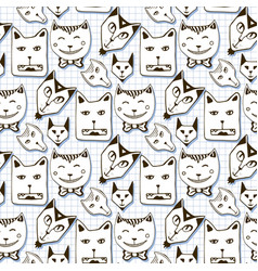 Doodle cats seamless pattern hand drawn cartoon vector