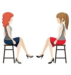 Faceless girls facing each other vector