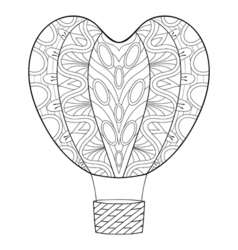 Hand drawn zentangle balloon in heart shape for st vector