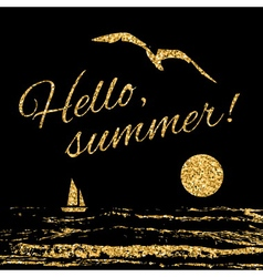 Hello summer typography background sail vector
