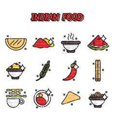 Indian food cartoon concept icons vector