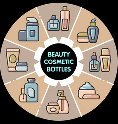 Infographic set of beauty cosmetic bottles vector