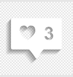 Like and comment sign white icon with vector