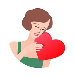 Loving Woman Holding Heart vector image