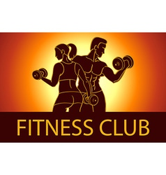 Man and woman Fitness template Gym club logotype vector image vector image