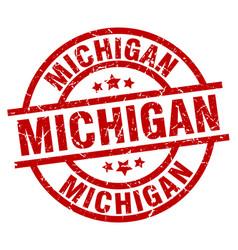 Michigan red round grunge stamp vector