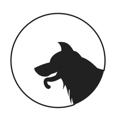 Silhouette of a dog head german shepherd vector image